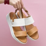 Иновативни дамски сандали от естествена кожа в бяло и таба с лека платформа-1661