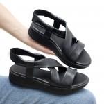Дамски ежедневни сандали от естествена кожа в черен цвят-1658