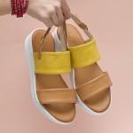 Дамски сандали от естествена кожа в свежа комбинация от жълто и кафяво-1659