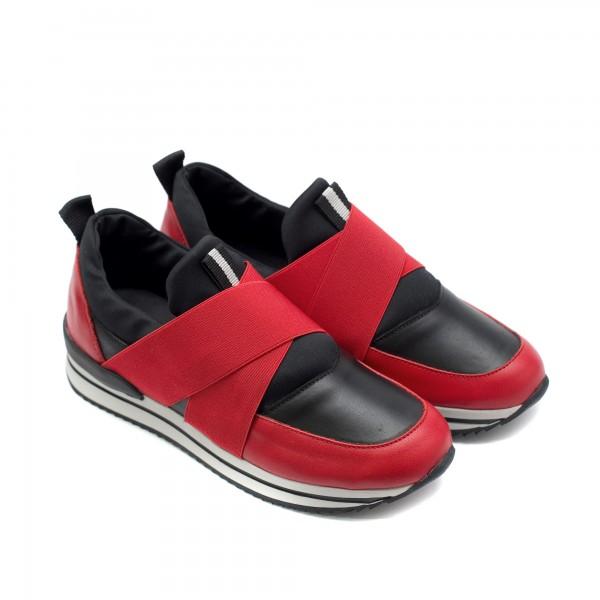 Дамски маратонки от естествена кожа в черно и червено с ластик-783