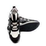 Дамски спортни обувки от естествена кожа  в черно и бяло с връзки-801