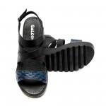 Дамски сандали от естествена кожа черни с каишки-816