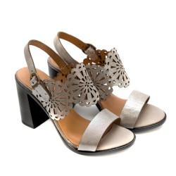 Дамски сандали от естествена кожа таупе на ток-814