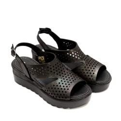 Дамски сандали от естествена кожа в цвят графит-817