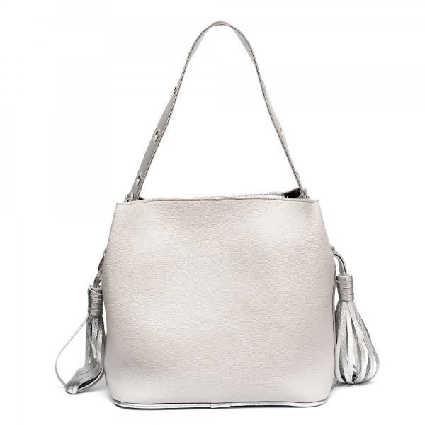 Ежедневна дамска чанта от еко кожа в сребристо-145
