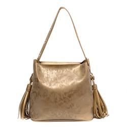 Ежедневна дамска чанта от еко кожа в златисто-145