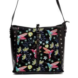 Дамска чанта от еко кожа в черно с флорални шарки и капси-813