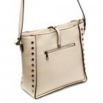 Ежедневна дамска чанта от еко кожа светло бежова-813