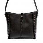 Черна дамска чанта с капси от еко кожа-813