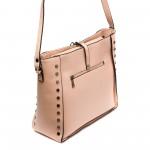 Ежедневна дамска чанта от еко кожа в цвят пудра-813