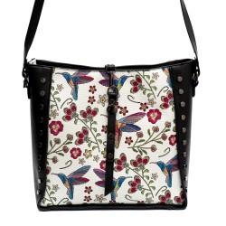 Дамска чанта от еко кожа в черно и бяло с флорални шарки и капси-813