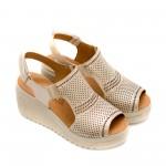 Дамски сандали от естествена кожа златни-820