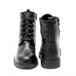 Дамски зимни боти от естествена кожа в черно с цип и връзки-531