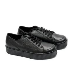 Дамски обувки от естествена кожа в черен цвят-558