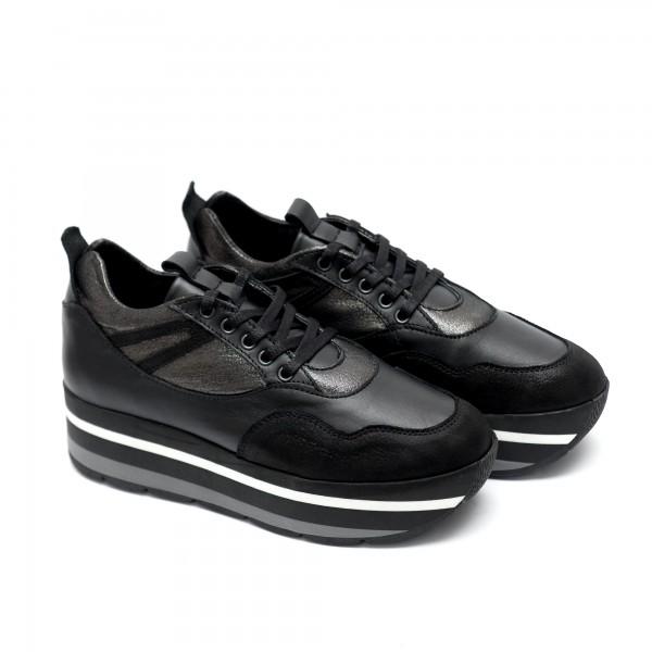 Дамски спортни обувки на платформа от естествена кожа платина + криспи-571