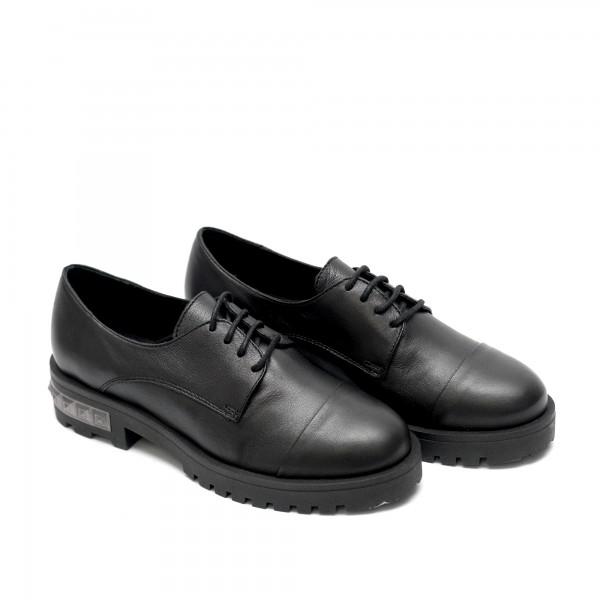 Дамски елегантни обувки от естествена кожа черни с връзки-561