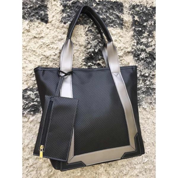 Дамска ежедневна чанта в черно и сиво-698