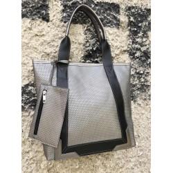 Дамска ежедневна чанта в сиво и черно-698