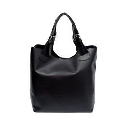 Ежедневна дамска чанта от еко кожа в черен цвят-704