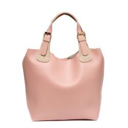 Дамска пролетна чанта от еко кожа в розово с бежов акцент-704