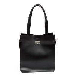 Дамска ежедневна чанта от гладка еко кожа в черен цвят-687