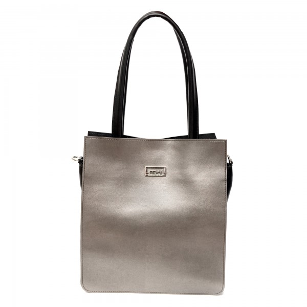 Дамска ежедневна чанта от гладка еко кожа в сребристо и черно-687