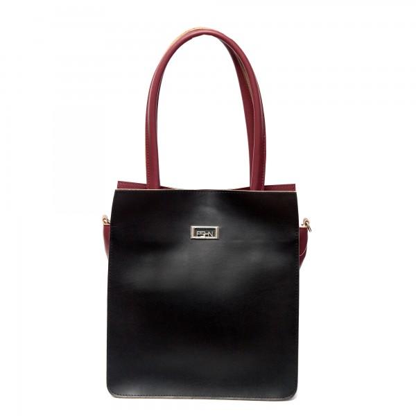 Дамска ежедневна чанта от гладка еко кожа в черно и бордо-687