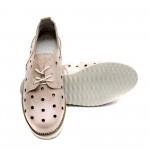 Дамски летни обувки изработени от естествена кожа в розов цвят с перфорация и връзки-220
