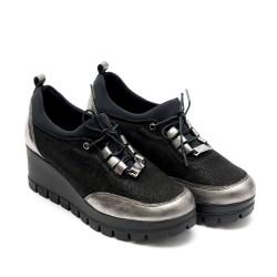 Дамски обувки от естествена кожа на платформа в черен+сребърен цвят си- 708