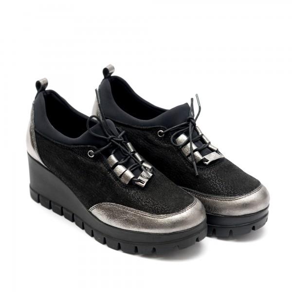 Дамски обувки от естествена кожа на платформа в черен+сребърен цвят- 708