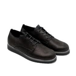 Дамски пролетни обувки от естествена кожа черни с дантела и връзки - 707