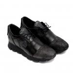 Дамски спортни обувки в черно и графитено сиво от естествена кожа-709