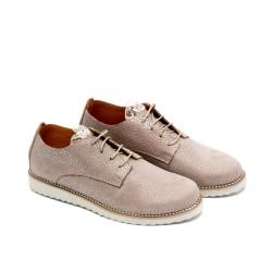 Дамски пролетни обувки от естествена кожа бежови с дантела и връзки - 719