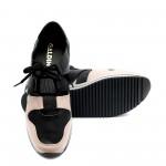 Летни дамски маратонки от естествена кожа в черно и розово-723