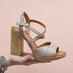 Дамски сандали от естествена кожа в цвят капучино и високо ток-1608