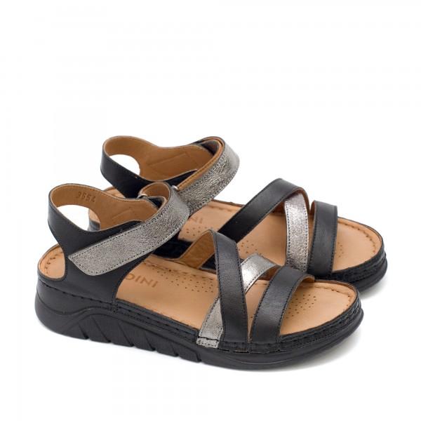 Дамски сандали от естествена кожа в комбинация черно със сребро-1622