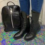 Високи черни боти от естествена кожа с модерна визия-905