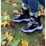 Спортни дамски есенни сникърси от естествена кожа,велур и лак на високо грайферно ходило-1052
