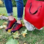 Червени дамски кецове от естествена кожа с равно ходило и змийски мотив-1025