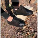 Черни дамски кецове от естествен набук и кожа+сребърни елементи-926