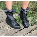 Дамски черни кецове от естествена кожа градски шик-188