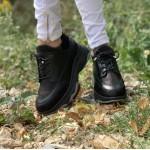 Дамски черни кецове от естествена кожа с атрактивен дизайн-888