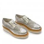 Дамски обувки от естествена кожа сребристи -334