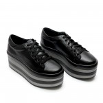 Дамски обувки от естествена кожа на платформа черни - 11