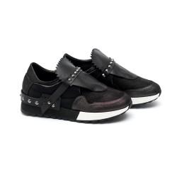 Дамски обувки от естествена кожа черни - 336