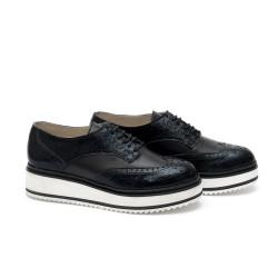 Дамски обувки от естествена кожа черни - 337