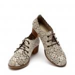 Дамски обувки от естествена кожа бежови с перфорация -36