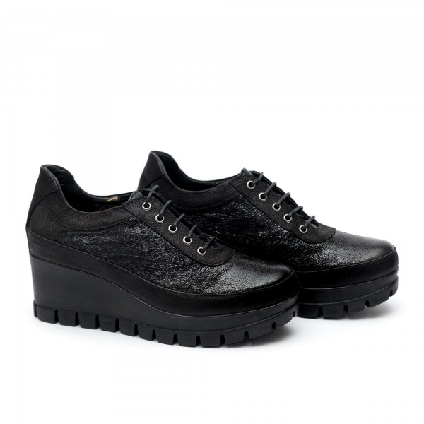 Дамски обувки от естествена кожа на платформа черни - 2