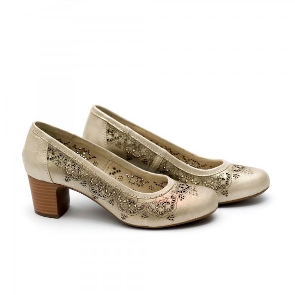Дамски обувки от естествена кожа златисти с ток -22