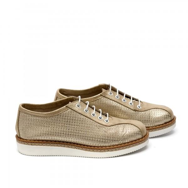 Дамски обувки от естествена кожа златисти - 35